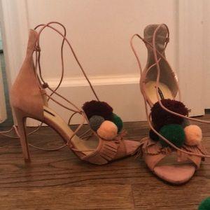 Zara Pom Pom tie up heels, 38